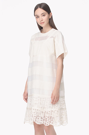 Textured stripe laced hem dress