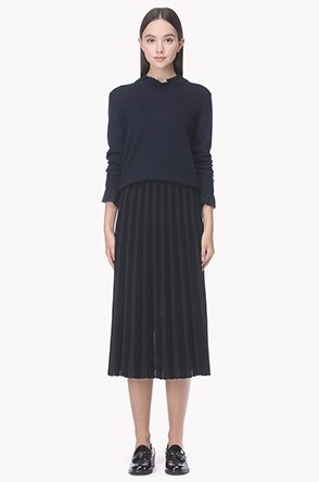 Eyelet stripe knit skirt