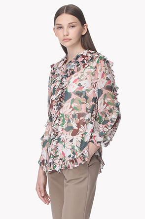 Pleat ruffle line printed blouse