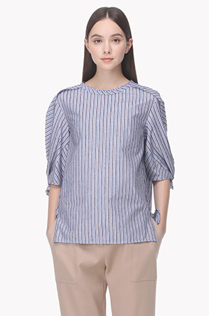 Striped knot cuffs blouse