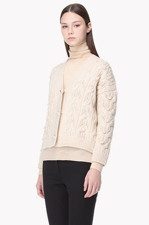 Lambswool belnd cashmere knit cardigan