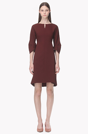 Pearl point notched neck dress