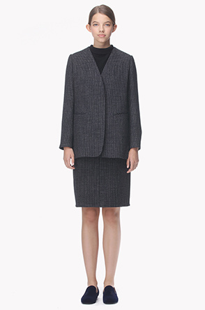 Wool blend collarless check jacket