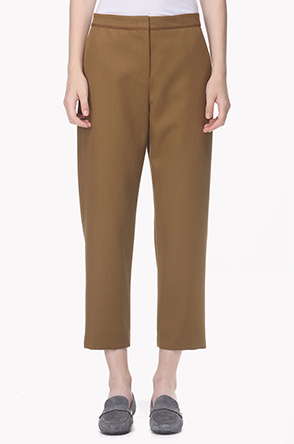 Wool twill crop pants