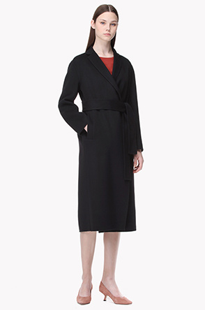 Strap belted lambswool cashmere handmade coat