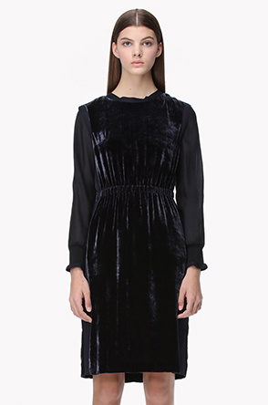 Waist banding velvet layered dress