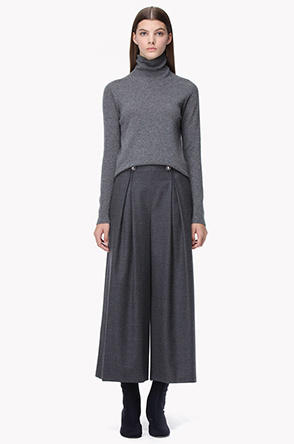 Wool blend inverted pleats culottes