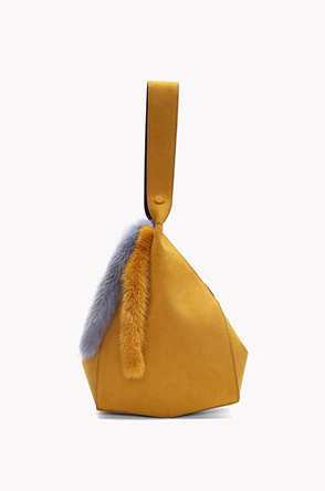 Fur point suede bucket bag
