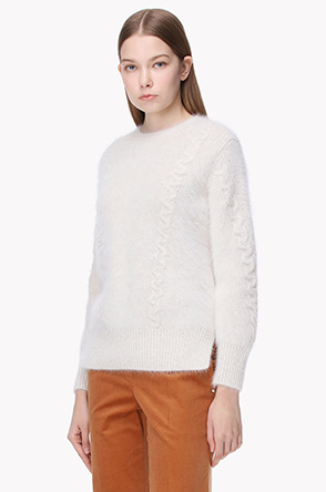 Cable line angora blend fluffy knit sweater