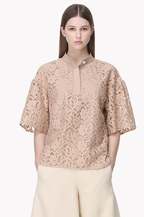 Short sleeve lace stand collar blouse