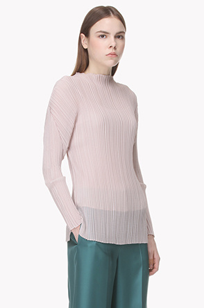 Accordion pleats see through blouse
