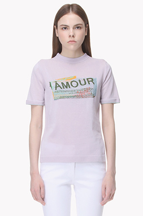Embroidered knit T shirt