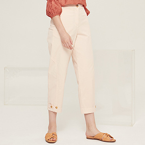 Button tab hem denim pants