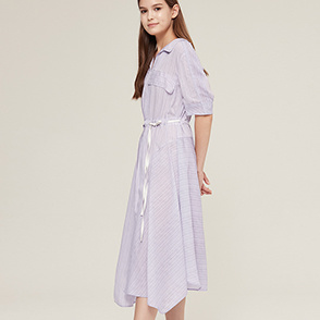 Belted open collar dress