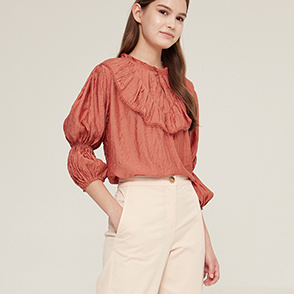Frill neck lace block top