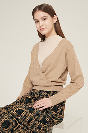 Layered wrap-around knit top