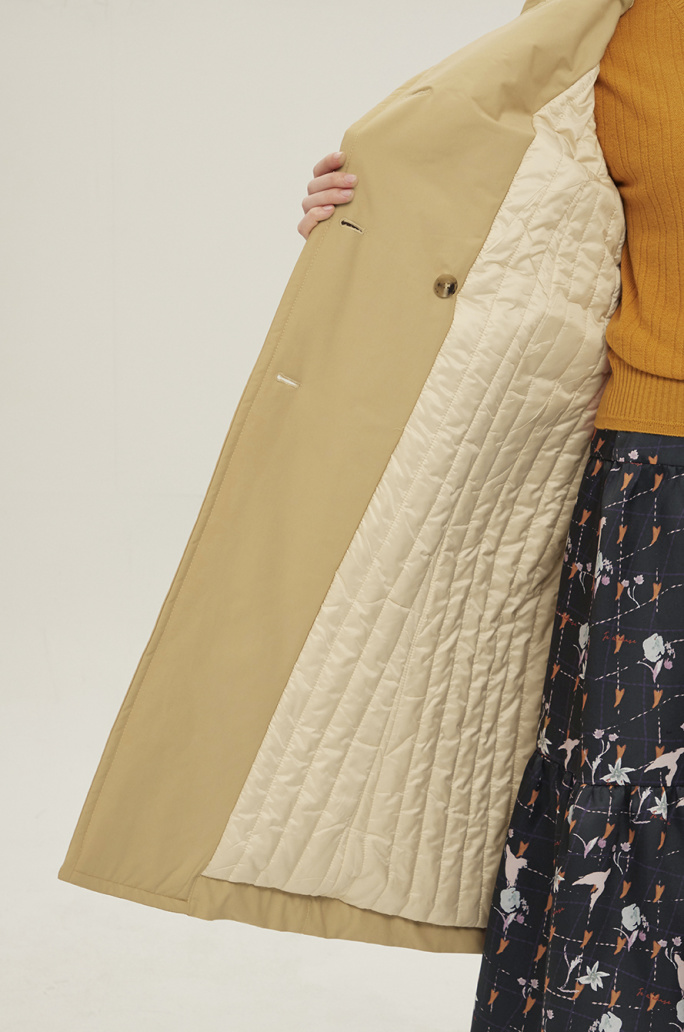 Belted padding trench coat