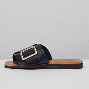 [CORSO ROMA 9] Buckle leather slides