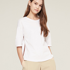 Color rib block t-shirt