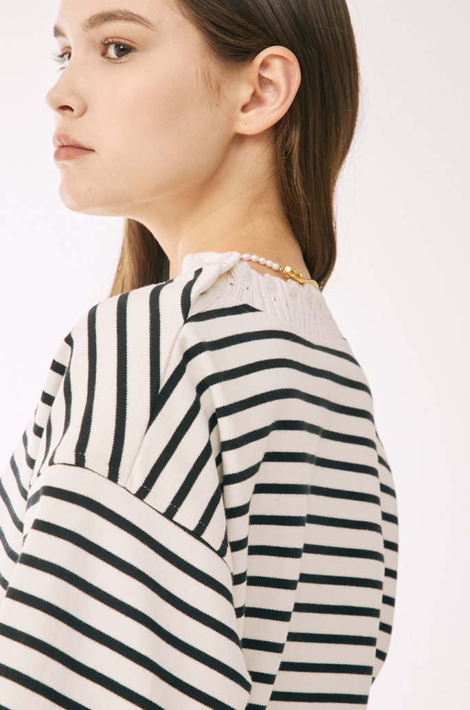 pearl signature embroidered top
