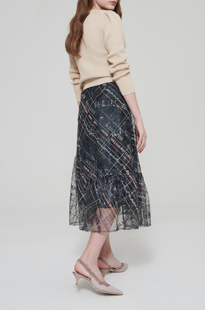 Embroidered tulle layer skirt