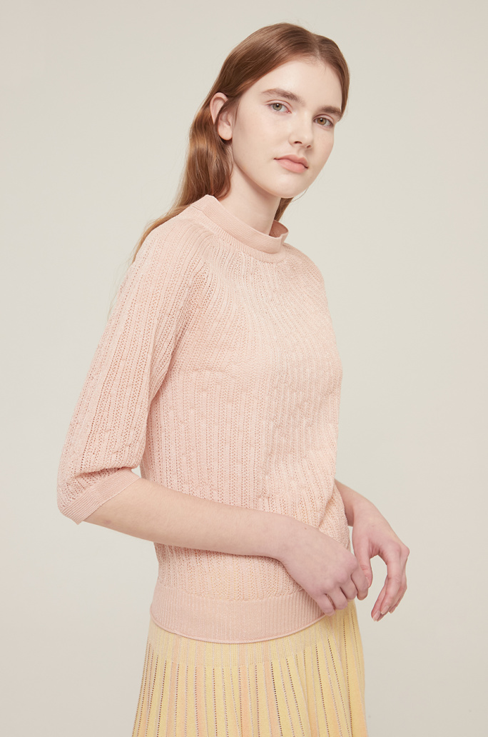 Mock neck see-through knit top