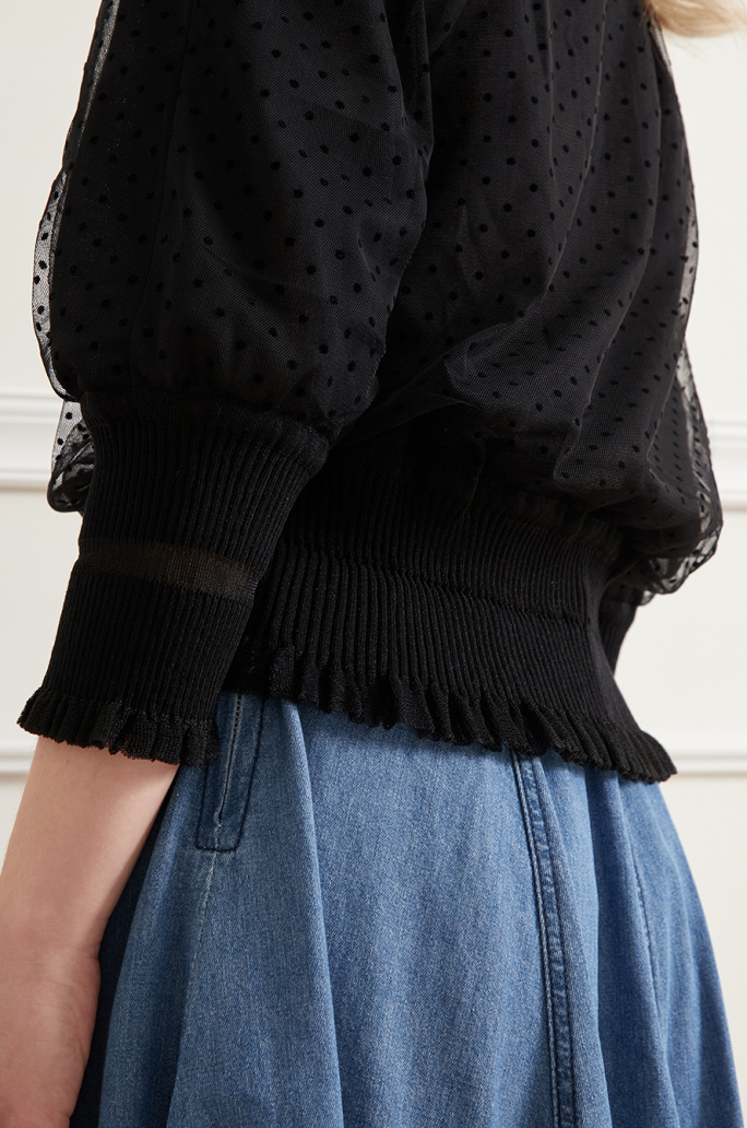 Tulle layer knit cardigan