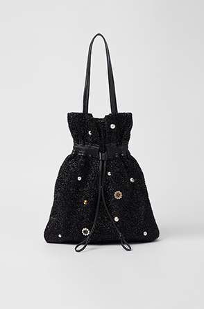 Glitter drawstring shoulder bag