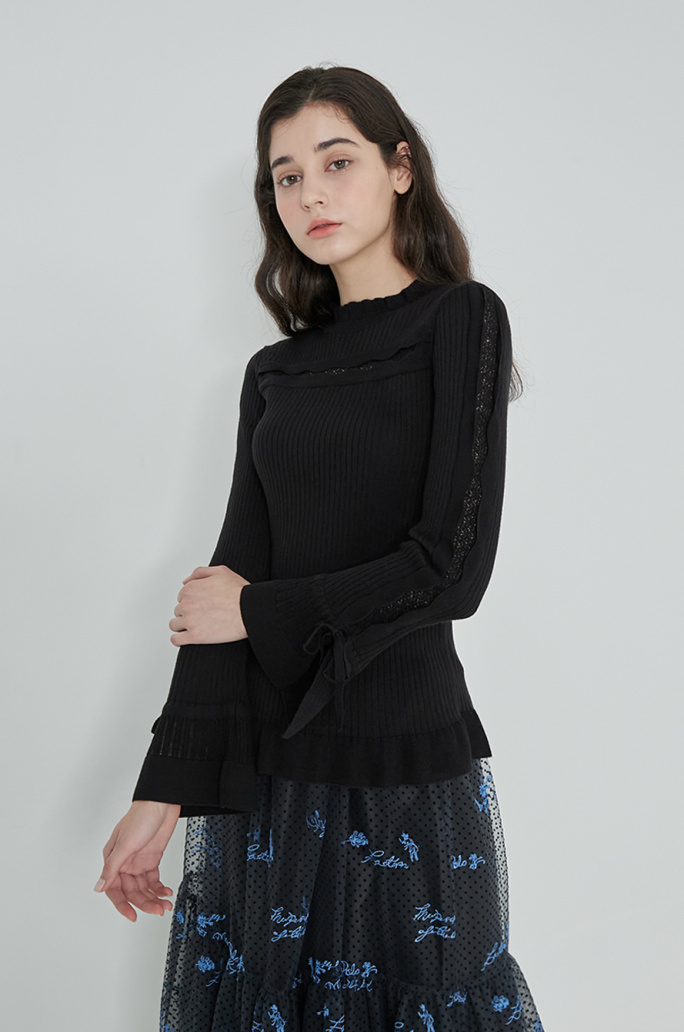 Scallop line knit top