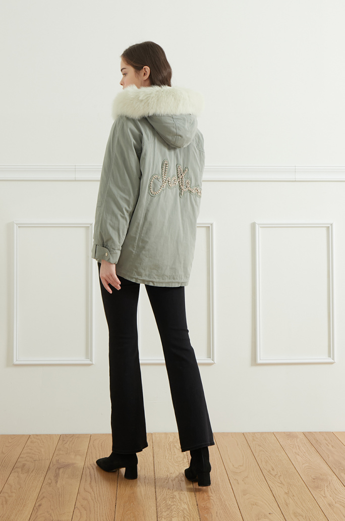 Fur liner goose down jumper