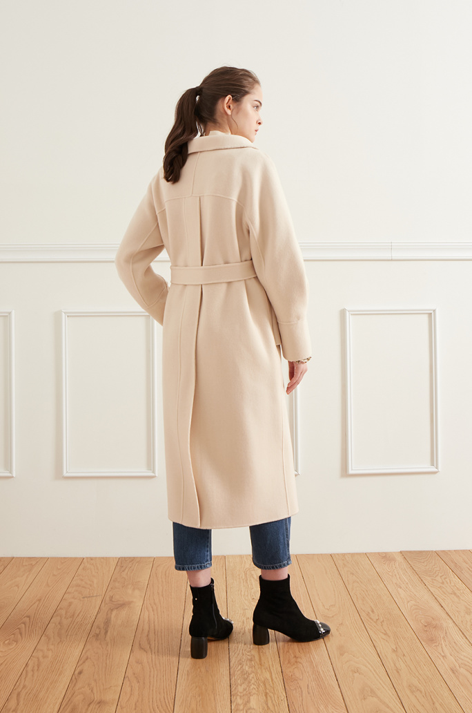Belted high neck coat