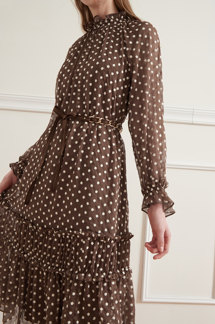 Belted embroidered dress