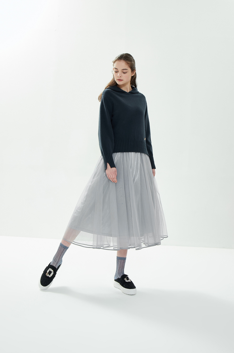Tulle dress & knit sweater