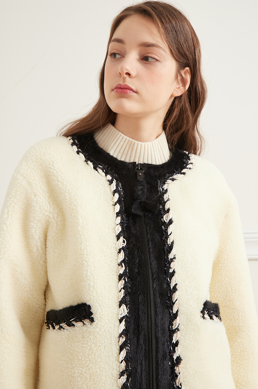 Fur block dumble jumper