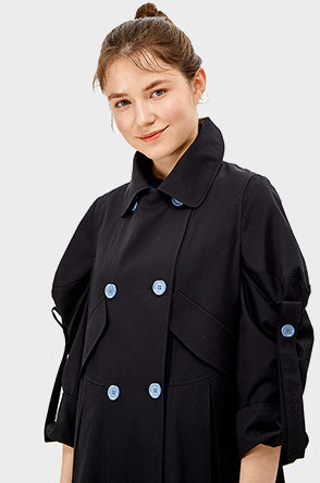 roll-up button sleeve trench coat