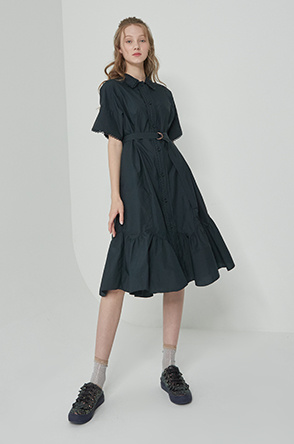 Belted lace block dress