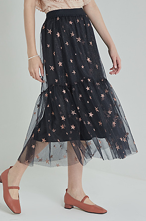 Tulle embroidered banding skirt
