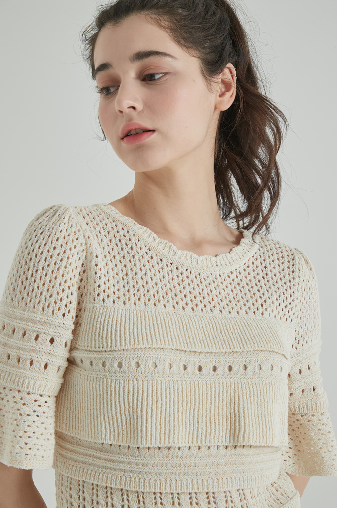 Panel block knit top