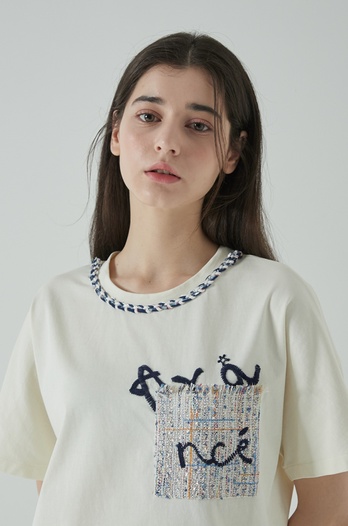 Tweed patch t-shirt