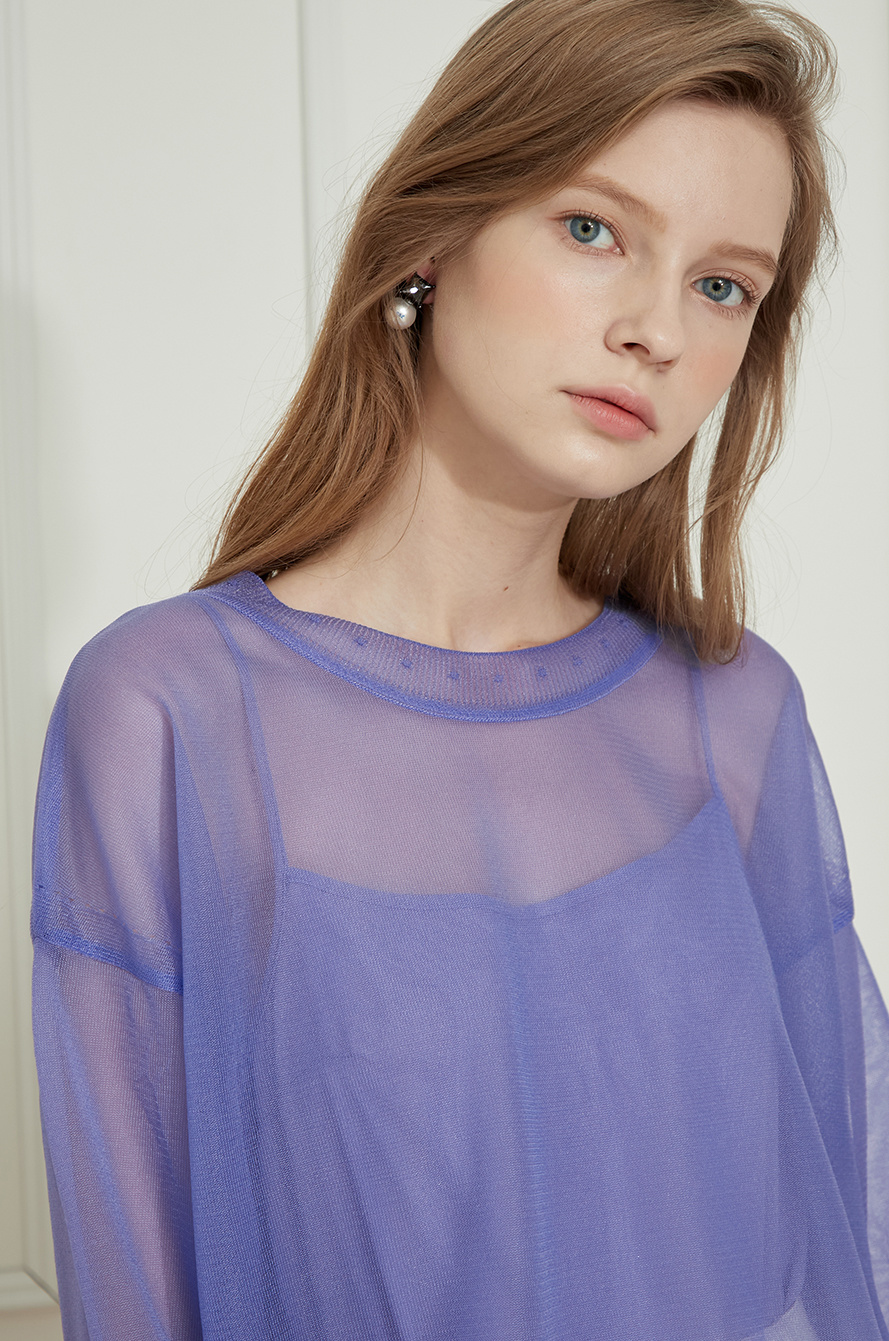 two-way see-through knit top