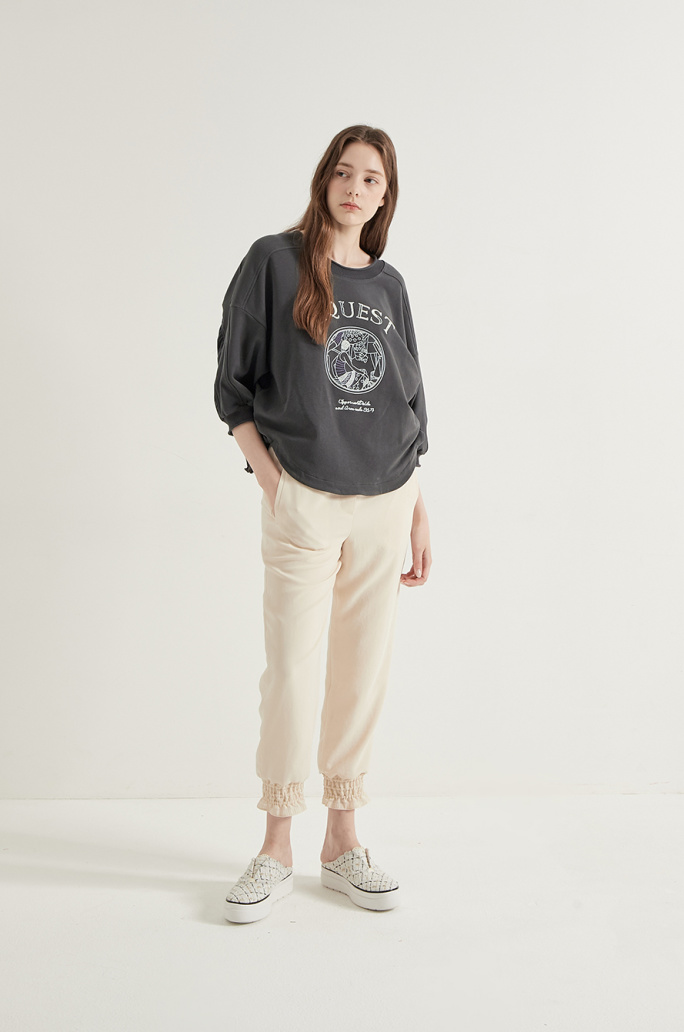 texture block embroidered T-shirt