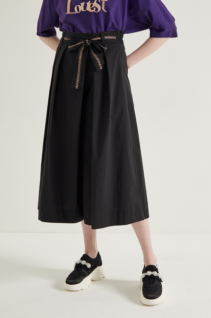 belted culottes pants