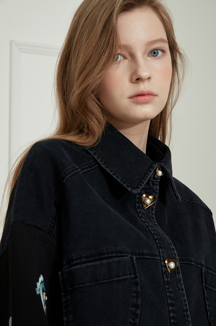 denim shirt with embroidery on cuffs