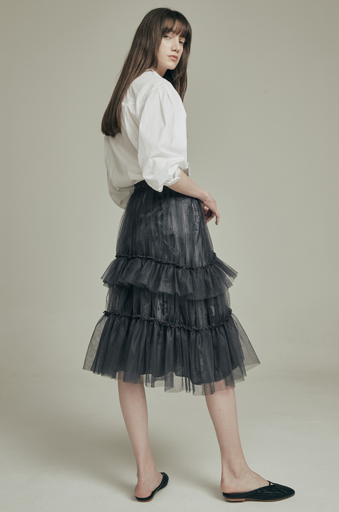 printed layer tulle skirt