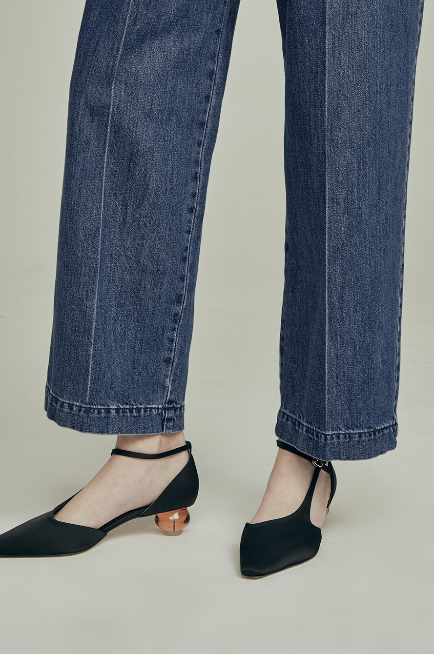 two-tuck tapered denim pants