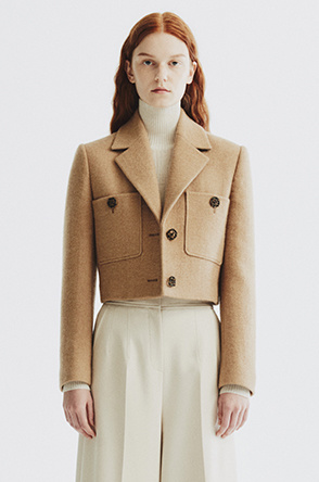 [6th Anniv.] camel cropped jacket