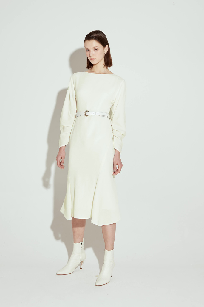 Shirring sleeve unbalanced dress