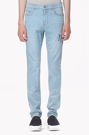 Lettering slim fit jeans