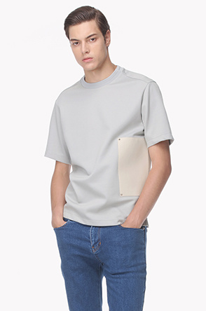 Side leather patch T shirt