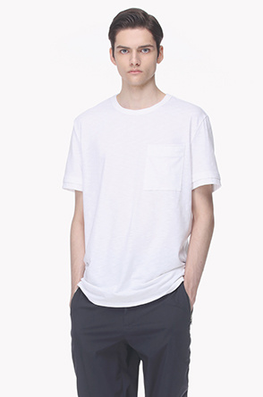 Back strap neck slub T shirt